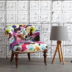 Let the colour in with our abstract fabric James Summer, ideal for curtain making & upholstery with a feel good design from Scottish designer bluebellgray. Upholstery Fabric For Chairs, Upholstered Chairs, Textiles, Furniture Decor, Furniture Design, Bluebellgray, Motif Floral, Vintage Chairs, Soft Furnishings