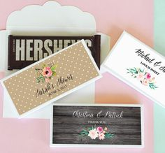 Custom Candy Bar Wrappers Covers are a great DIY wedding favor! Each personalized candy wrapper is actually an envelope style box that reveals a sweet surprise that you choose to fill it with... and who doesnt LOVE a bar of chocolate anyways? Our candy wrapper covers are unique because they fit most candy bars that are around 1.55 oz so you arent limited to just one exact type of candy or chocolate AND you dont have to sit there gift wrapping your chocolates with pieces of foil just to make…