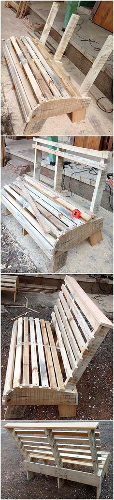 paletten deko Wooden Pallet Projects diy wooden pallet bench - If you are getting bored with the old shipping pallet boards of your house and planning to make a part of trash. Then, stop for a moment and think to r Outdoor Pallet Projects, Wooden Projects, Pallet Ideas, Pallet Chair, Diy Pallet Furniture, Pallet Benches, Small Furniture, Outdoor Furniture, Wooden Pallets