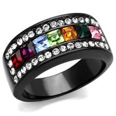 Stainless Steel Rainbow Crystal Band Ring Black PRODUCT DETAILS Material: Stainless Steel Plating: IP Black (Ion Plating) Center Stone Type: Top Grade Crystal Center Stone Color: Multi Color Center Stone Size(approx): 3(mm) Category: Ring Gender: Women Product Weight(approx): 6.72(g) 08030   Hypoallergenic and will never tarnish or turn fingers green.   Please message me to confirm the size you want is in stock before purchasing   Create a bundle and save on 2 or more rings plus only one…