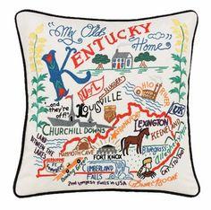 State of Kentucky Embroidered Pillow - Kentucky Souvenir Catstudio