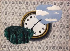 Rene Magritte > Composition with clock, sky and forest