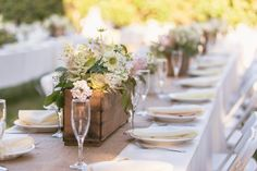 Not the colors but like the flower boxes. Country Rustic Wedding Tables