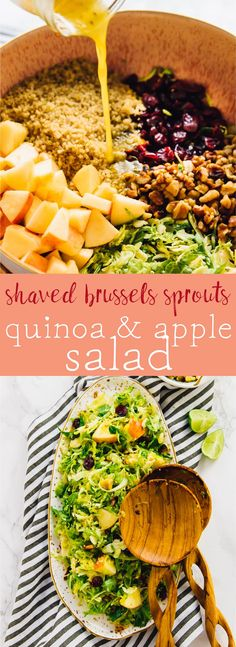 This Shaved Brussels Sprouts, Quinoa and Apple Salad is the perfect winter salad!! It's marinated with a divine sweet orange vinaigrette and is so filling and comforting! via https://jessicainthekitchen.com