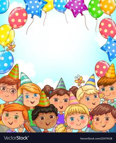 Blank holiday banner with balloons and funny kids vector image on VectorStock Art Drawings For Kids, Drawing For Kids, Art For Kids, Crafts For Kids, Birthday Frames, Birthday Board, Circus Birthday, Birthday Balloons, Bible Family Tree
