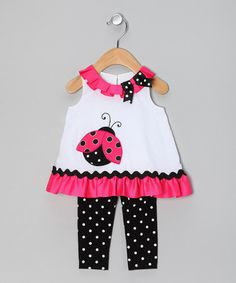 Take a look at this Black & Pink Polka Dot Ladybug Tunic & Leggings - Infant by Rare Editions on #zulily today!