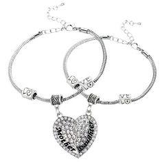 Mother Daughter Heart Bracelet