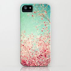 iPhone 5 Case, iPhone 5, Iphone 4, fall autumn,  colour, girly, girls, feminine, floral flower, blue sky, pink red, accessory Iphone, spring.