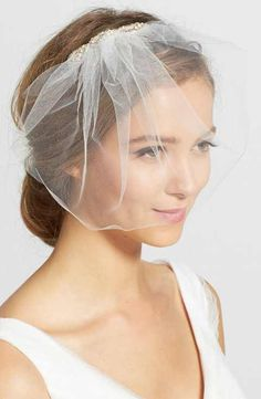 J-Picone Crystal Comb Tulle Blusher/Birdcage Veil