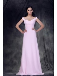 New Style Ruched A-Line V-Neck Off-the-shoulder Floor-Length Anderae's Bridesmaid Dress