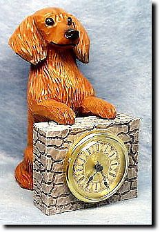 5 Coat Styles-Dachshund (long hair) Wood Carved Shelf Mantle Clock. Home Decor Dog Products.