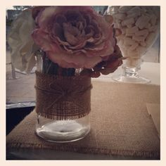 Burlap and twine wrapped vase - from Lolly Buffet styled by Once Upon A Table