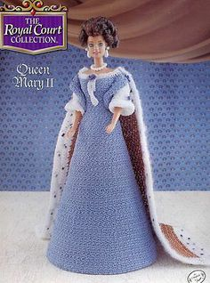 Queen Mary II Outfit for Barbie Doll Annie's Royal Court Crochet Pattern NEW