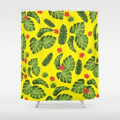 Tropical leaves shower curtain-Cool plants shower curtain-Mid