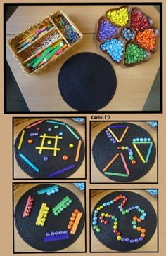 """Reggio-inspired provocation with lines, colors & patterns in loose parts ("""", (Via Stimulating Learning) Reggio Emilia Classroom, Eyfs Classroom, Reggio Emilia Preschool, Play Based Learning, Learning Through Play, Motor Activities, Preschool Activities, Preschool Centers, Preschool Learning"""
