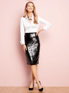 Sequin Skirt Outfit, Sequin Pencil Skirt, Pencil Skirt Outfits, Sequined Skirt, Sexy Winter Outfits, Stylish Outfits, Fall Outfits, Fashion Outfits, Stylish Dresses