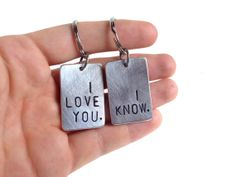 Stubborn Couple Keychain Set I LOVE YOU. I KNOW. by RUSTICBRAND, $21.95