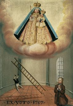 Ex voto 1767A south German votive painting from 1767, offered to Mary by a man after he miraculously survived a fall from a ladder.