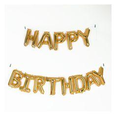 Ballons mylar dorés : Happy Birthday