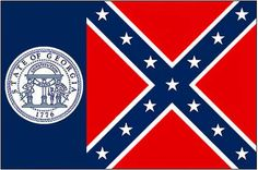 Old Georgia Flag. Changed by the real racists to the current state flag. Pictures Of Flags, American Flag Pictures, Civil War Flags, Today In History, Georgia On My Mind, Bull Terrier, Savannah Chat, Atlanta, Old Things