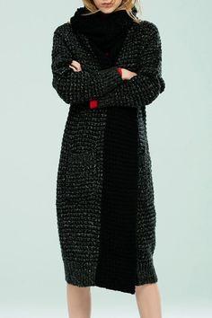 Bellywear Black Grey Wool Blend Tea Length Cardigan | Sweaters at DEZZAL