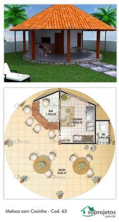 Projeto de maloca com uma cozinha e um lavabo. Amplo Salão que integra a casa com o exterior, com uma área de 34,82 m². Ótima para praia ou edícula. Telhado em telha de barro.