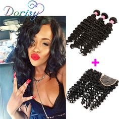 Cheap hair color in fashion, Buy Quality extension hair directly from China hair scissor Suppliers: 	Peruvian Deep Wave With Closure 3 Bundles With Closure Natural Black 	Color Unice Hair With Closure Can Be Dyed Hair Ex