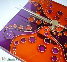 mandala wall clock  Narancs, lila egyedi festett üvegóra (Boriboszi) - Meska.hu