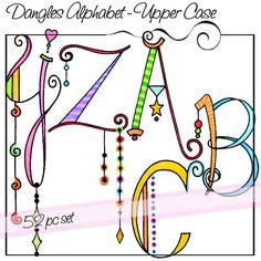 Dangles Alphabet – Upper Case. Digitized for machine embroidery