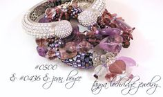 Tanya Lochridge Jewelry Vintage Hearts Stackable Bangle stacked with an amethyst multi-layer bracelet from my collection & an early Joan Boyce Kissable Cuff. #joanboyce #tanyalochridgejewelry