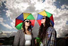 Shannon Smith, and Abbey Housley, from Merseyside prepare for the worst as dark cl. Enjoy The Sunshine, Music Festivals, Cl, Rain, Rain Fall