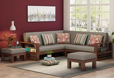 Buy Winster L-Shaped Wooden Sofa (Warm Grey, Walnut Finish) Online in India - Wooden Street - Trixie Obat - Living Room Corner Sofa Design, Living Room Sofa Design, Living Room Designs, Sofa For Living Room, Wooden Living Room Furniture, Sofa Furniture, Modern Wooden Furniture, Sheesham Wood Furniture, Wardrobe Furniture