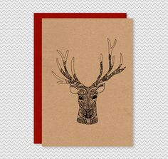 Kraft Christmas Cards - Hand drawn illustrated reindeer- Kraft patterned ink pen funky xmas cards