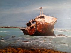 The Shipwreck at Cape Agulhas  was called the Meisho Maru  No.38. It ran aground on 16 November 1982. All 17 crew members swam to safety. It carried a consignment of tinned fish, which was also offloaded. The ship was never removed and with time it disintegrated, until only a small section of the front is still visible. Although it took one and a half years to complete, I spent about 40 - 50 hours in total, painting it. It is Acrylic on boxed canvas