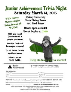 Support Junior Achievement by taking part in Trivia Night at Quincy University this Saturday!
