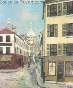 utrillo paintings | ... at Montmartre - Maurice Utrillo Fine Art Reproduction Oil Painting