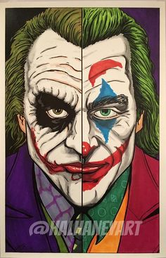 Here is a split portrait of two different portrayals of the iconic Bat-villain, The Joker, one by the late great Heath Ledger in The Dark Knight, the other by Joaquin Phoenix in Joker. Comic Del Joker, Le Joker Batman, Joker Cartoon, Cartoon Art, Gotham Batman, Batman Art, Batman Robin, Joker Sketch, Joker Drawings