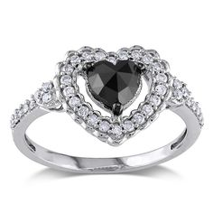 Miadora 10k Gold 1ct TDW Black and White Diamond Heart Ring (G-H, I2-I3) - Overstock™ Shopping - Top Rated Miadora Diamond Rings