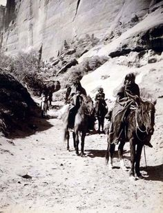 Here for your browsing pleasure is an extraordinary photo of Band Mounted Navahos Passing Through. It was made in 1904 by Edward S. Curtis.    The photo documents Indians of North America.    We have compiled this collection of photos mainly to serve as a vital educational resource. Contact curator@old-picture.com.