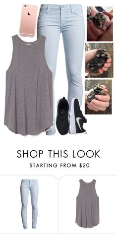 """Guys we got baby chickens."" by graciegirl2015 ❤ liked on Polyvore featuring 7 For All Mankind and NIKE"