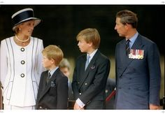 1995 William and Harry with Mummy and Daddy at  an outdoor service commemorating VJ Day