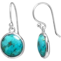 Enhanced Turquoise Sterling Silver Drop Earrings (One Size) - Womens... ($25) ❤ liked on Polyvore featuring jewelry, earrings, no color, blue turquoise earrings, sterling silver jewellery, sterling silver earrings, round earrings and sterling silver turquoise jewelry