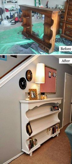 An old hutch top is turned into a beautiful entryway (or sofa) table! http://hannahbunker.com/diy-dresser-hutch-turned-sofa-table/
