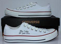 Simple Bride Converse with black script customisation on one shoe. www.deadfresh.co.uk