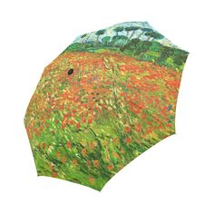 Vincent Van Gogh Field With Red Poppies Auto-Foldable Umbrella