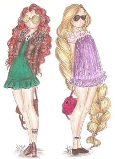 Disney Princess Fashion | Merida and Rapunzel by VianaDrawings | Brave and Tangled | Drawings