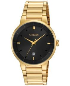 Gold Chain Men Outfit Citizen Men's Gold-Tone Stainless Steel Bracelet Watch - Gleaming gold tones and a bold black dial give this Citizen watch a classic, sophisticated look you'll love for years to come. Vintage Watches For Men, Luxury Watches For Men, Stainless Steel Watch, Stainless Steel Bracelet, Mens Dress Watches, Casual Watches, Elegant Watches, Modern Watches, Seiko Watches
