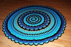 turquoise brown DIY Crochet Round Doily Rug OOAK mat carpet bath mat outdoor Native American Spirit Eco friendly mandala doily on Etsy, 89,00 €