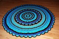 turquoise brown  DIY Crochet Round Doily Rug OOAK mat carpet bath mat outdoor Native American Spirit Eco friendly  mandala doily on Etsy, 89,00€