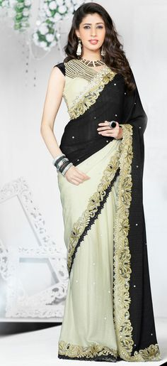 Iconic Off White and Black Saree